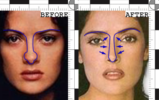 Salma Hayek Nose job Before After Photos