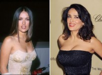 Salma Hayek breast implants surgery before and after boob job photos 1